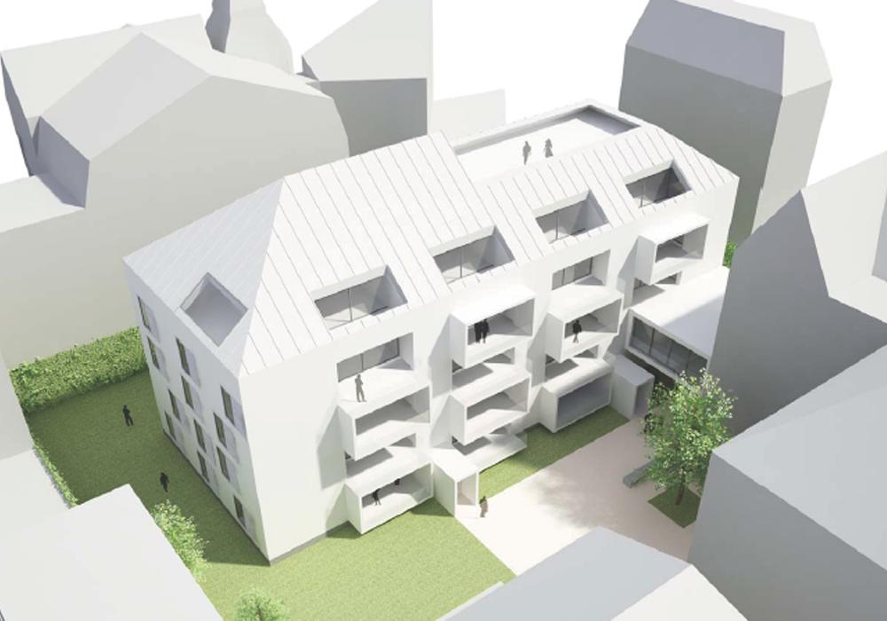 Statik, Planung, baulicher Brandschutz und ingenieurtechnische Kontrolle für Neubau Wohnanlage im Schlachthofviertel: Visualisierung Luftbild