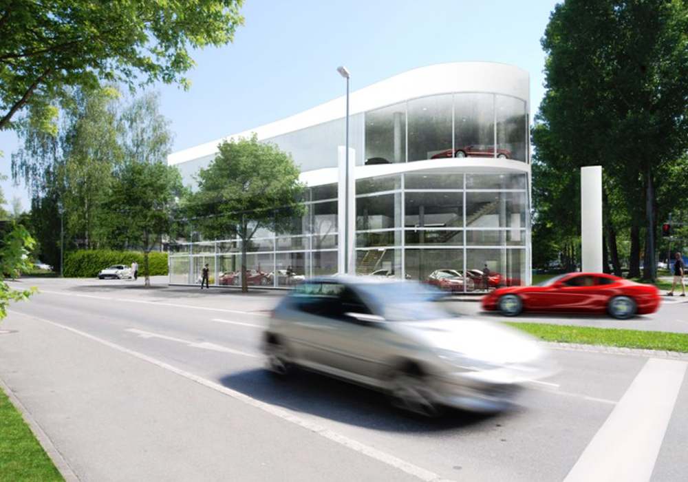 Autohaus Ferrari Starnberg. Statik, Bauablaufplanung, Ingenieurtechnische Kontrolle und baulicher Brandschutz für Neubau in Massivbauweise mit Stahlbetonwänden- und Stützen. Visualisierung Außenansicht
