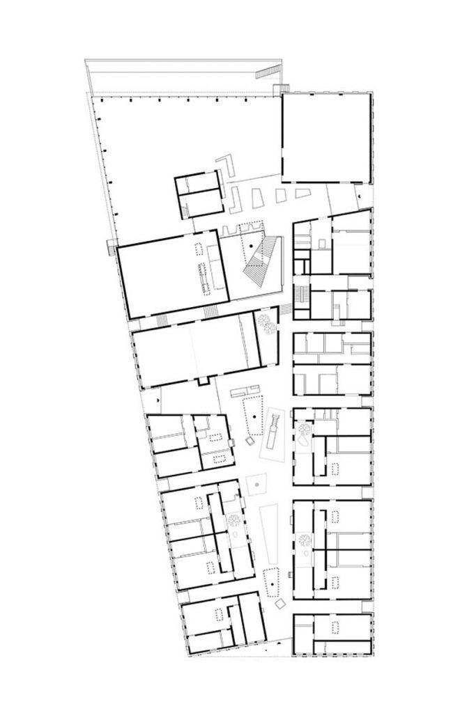 Statik, Planung, baulicher Brandschutz und ingenieurtechnische Kontrolle für Neubau Kita und Gym Adidas. Plan Grundriss