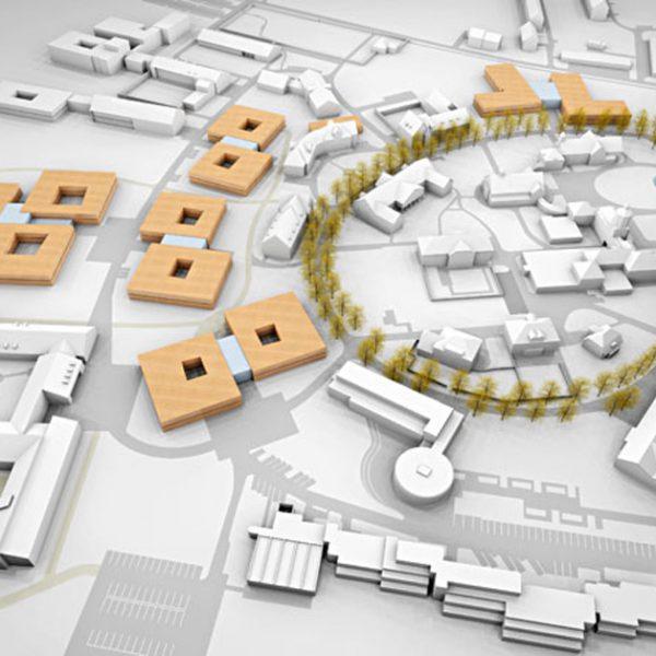 Statik, Planung und Ingenieurtechnische Kontrolle für den Neubau eines Zentrums Allgemeinpsychiatrie und Suchterkrankung im Bezirksklinikum Mainkofen. Visualisierung Luftbild