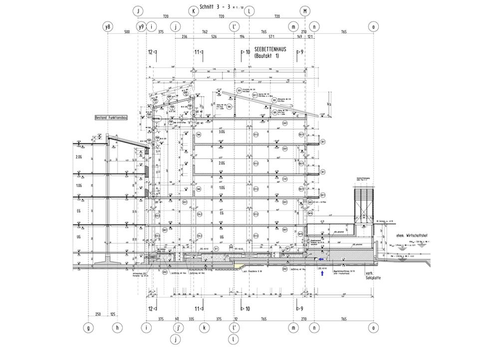 Statik, Planung und ingenieurtechnische Kontrolle für RoMed Klinik Prien am Chiemsee 1. BA Neubau Seebettenhaus. Plan