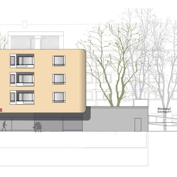 Abbruchbeschreibug, Statik, Planung, baulicher Brandschutz und ingenieurtechnische Kontrolle für Neubau Wohnanlage Konrad-Celtis-Straße München. Plan Ost
