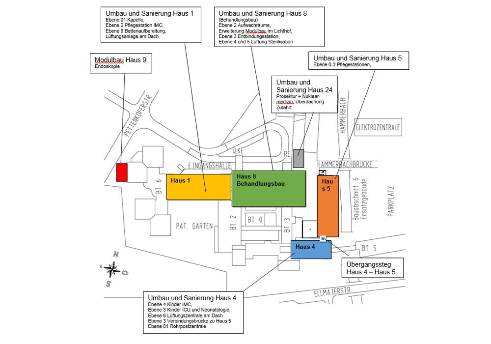 Beratende Ingenieure Tragwerksplanung für BA8VM und BA7b Klinikum Rosenheim – Übersichtsplan