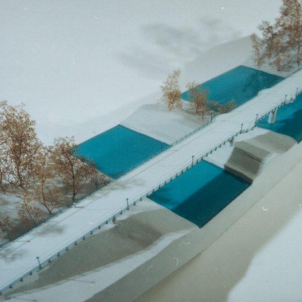 Wettbewerb Straßenbrücke in Grünwald. Visualisierung Ansicht von oben