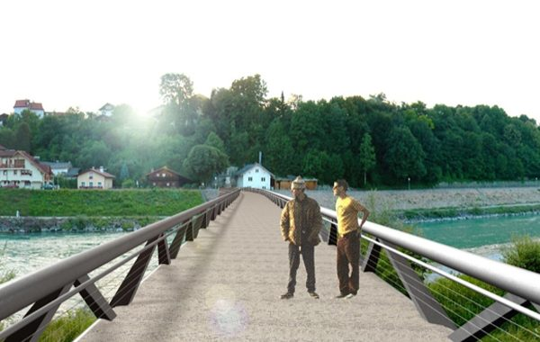 Wettbewerb Fußgängerbrücke über die Salzach. Visualisierung Blick von der Brücke aus.
